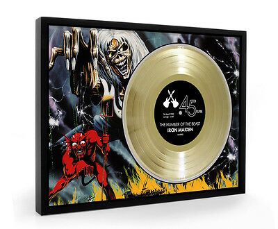 Iron Maiden The Number Of The Beast Framed Gold Disc A4 Size