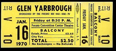 Rare Unused Glen Yarbrough Concert Ticket Fresno Convention Center Jan 16th 1970