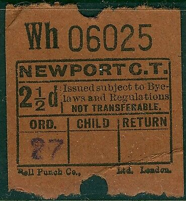 UK 1950s?  NEWPORT Corporation 2½d at left bus ticket  with creases