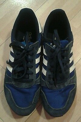 Boys Adidas navy and white trainers size 6