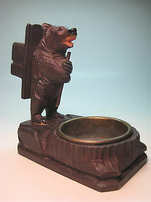 Antique Black Forest Wood Carving Bear with Brass Ashtray Smoke Stand