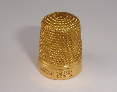 9ct gold steel lined DORCAS thimble CH 8 - good condition - 8.71 grams