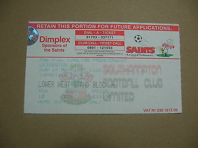 14 May 1995 Southampton Leicester City Ticket Stub Carling Premiership