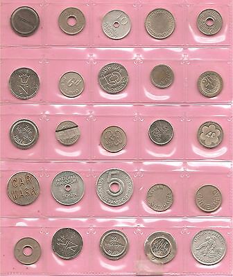 100 tokens / machine tokens / coins / jetons British & European. Nice mixture B.