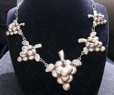 sterling silver Taxco grape necklace earring set