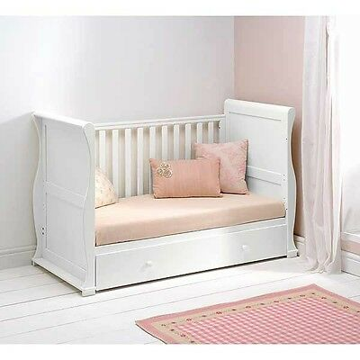 Alaska Sleigh Cot Bed & Drawer-Beautiful White Colour-Still Boxed- Unused