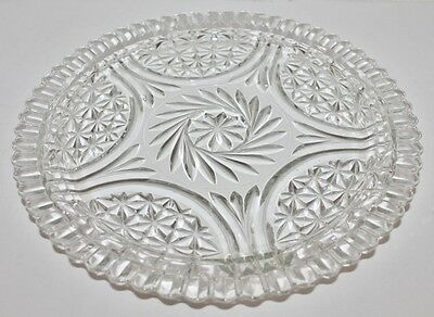 """Vintage Clear Glass Swirling Star Platter Serving Tray Pressed Eapg 12"""""""