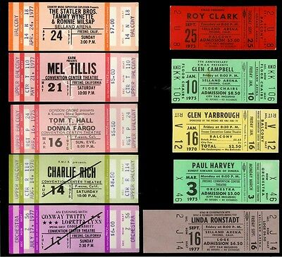 10 Vintage Country Music Concert Tickets Glen Campbell Conway Twitty Mel Tillis+