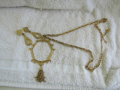"20"" goldtone necklace & earrings/necklace has a loop to add any pendent you want"
