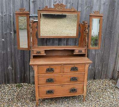 Victorian Satinwood  Dressing Chest Triple Mirror FAB!