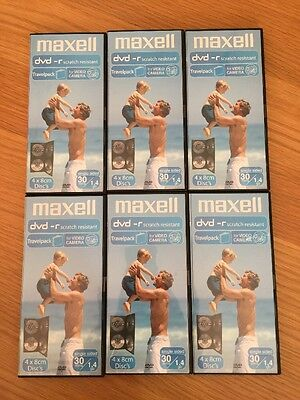 6 X Maxell 8cm DVD-R Camcorder 4 PackTravel Library Case 30 Mins GAMECUBE