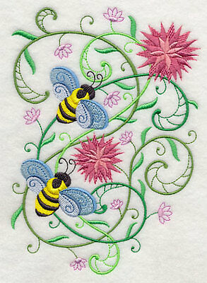 Embroidered Honeybee blossoms quilt block, fabric,cushion panel,wall art,bees