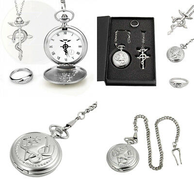 Topwell Full Metal Alchemist Pocket Watch Necklace Ring Edward Elric Anime New