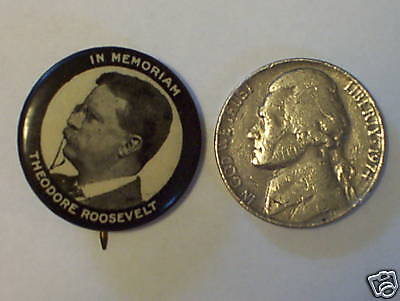 Vintage President Theodore Roosevelt Pin Pinback Button Political
