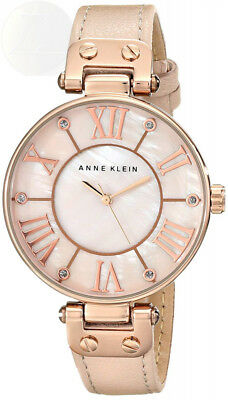 Anne Klein Womens 10/9918Rglp Rose Gold-Tone Watch With Leather Band New