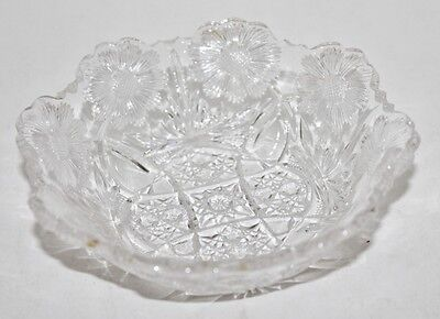 """Glass Berry Bowl-Daisy and Button with Daisies - 5"""" - EUC"""