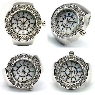 Womens Crystal Quartz Finger Ring Watch With Gift Box New Free Shipping