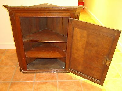 Antique wooden polished corner cabinet, wall or floor mounted