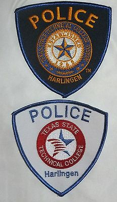 Set of 2 different Technical College Harlingen Police Patches Texas TX NEW!