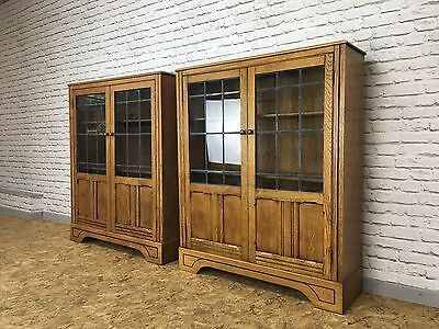 Antique Solid Oak Matching Pair of Bookcases Bookshelf - Glass Doors Stunning