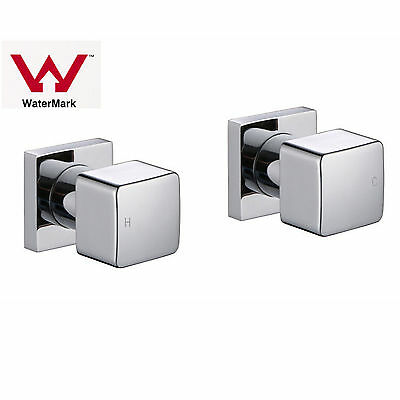 Square Mixer Wall Basin Top Set Brass Shower Faucet 1/4 TURN TWIN Vanity Taps