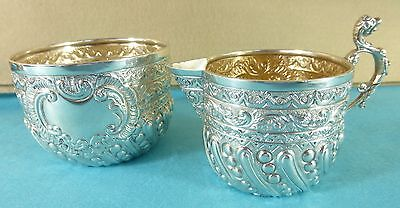 Superb Victorian Sterling Silver Sugar Bowl & Cream Jug Fine Chased London 1892
