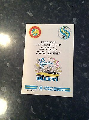 Cup Winners Cup Final 1983 Aberdeen V Real Madrid Ullevi Edition  Played Abroad