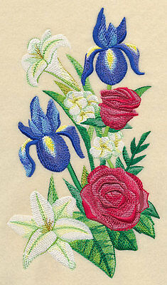 Embroidered Red white & bloom quilt block, fabric,cushion panel,wall art,