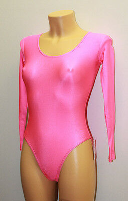 Pink Spandex Sleeved Women's Gymnastic Leotard Closed Back Size S