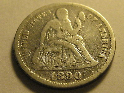 1890-P Seated Liberty Dime Fine Cleaned