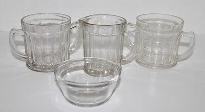 Lot Anchor Hocking Clear Glass-4 Pc:  Creamer or Pitcher, 2 Handle Mugs, Sm Bowl