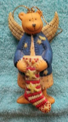 Lang & Wise Ornament ~ Stars and Stripes Ceramic Teddy Bear Angel Ellen Stouffer