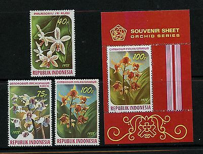 Indonesia #1036-1038 & #1038a S/S (IN541) Comp 1978 Orchids, MNH,FVF