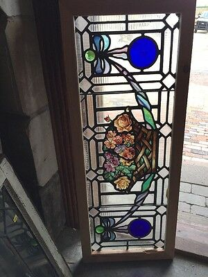 Sg 1116 Gorgeous Antique Painted And Fired Flower Basket Transom Window 16 X 40