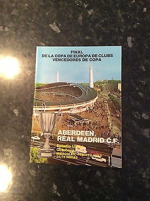 Cup Winners Cup Final 1983 Aberdeen V Real Madrid  Played Abroad