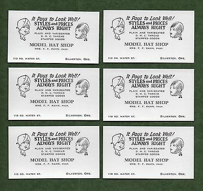 "6 Model Hat Shop (Silverton OR) Unused Blotters - 2""x3½"" (Business-Card Size)"