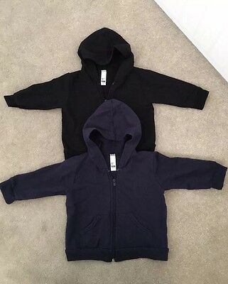 American Apparel Baby Boy Navy And Black Hoodies Size 12-18 Months