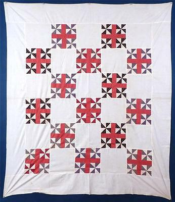 """Double Pinwheel"" QUILT TOP, COTTON, c.1870-80, MINT, UNUSED, UNWASHED"