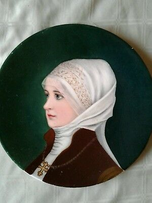 """Antique All Hand Painted Pretty Woman Portrait Plate 9.5"""" Signed Rownfield Ex."""