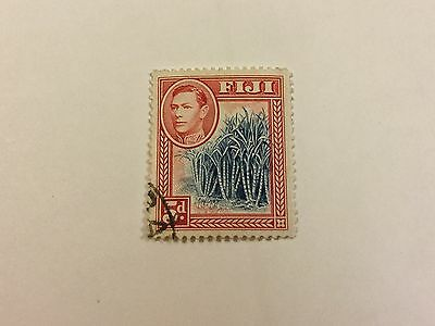 FIJI 1938 USED 5d BLUE  and SCARLET. Perf 12/12. C/V £12:00.