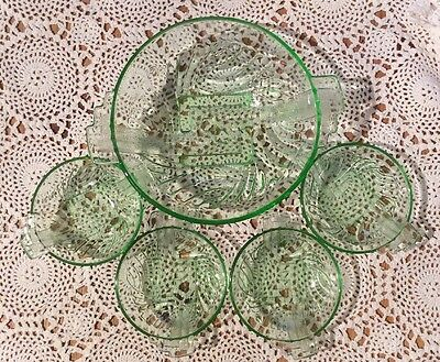 Art Deco Large Green Glass Fruit Dish And 4 Small Individual Fruit Dishes