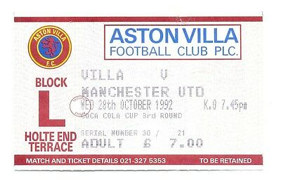 Aston Villa v Manchester United TICKET 1992/93 League Cup
