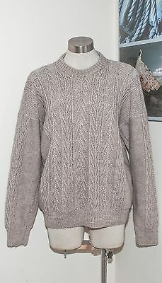 Handknitted chunky jumper wheaty biscuit colour in a fancy Irish knit xl unisex