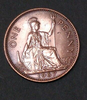 1967 Qeii One Penny Coin