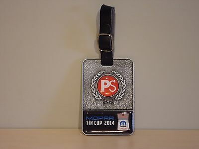 """Mopar 2014 Golf Tournament """"Tin Cup"""" Metal Golf Bag Tag with Leather Strap"""