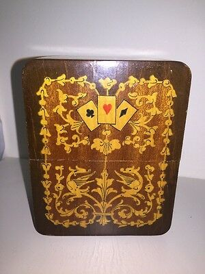 Antique Inlaid Marquetry Wooden Playing Cards Box~ Beautiful!