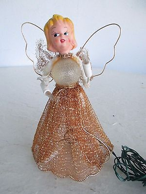 Vintage 1950's 60's Christmas Tree Topper ANGEL Figure Light Up Girl Doll gold m