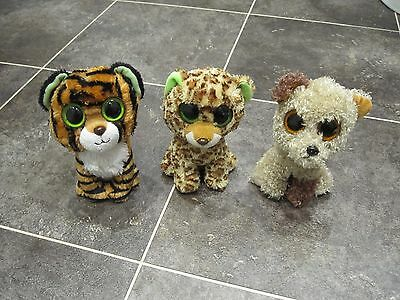 "Ty Beanie Boos 6"" Stripes (Tiger), Speckles (Leopard) And Rootbeer (Dog) Bundle"