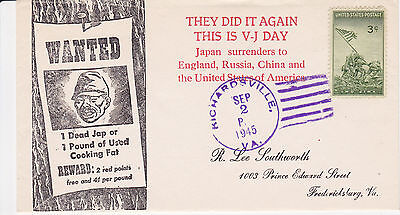 World War Ii Wwii Patriotic Cover - 1945 They Did It Again This Is V-J Day Japan
