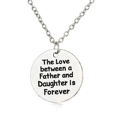 Round Silver Plated Father and Daughter Love Forever Pendant Necklace Party Gift